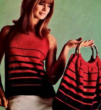 1960s Graduated Stripe Bag Sleeveless Jumper Vest Milford 2025 Knitting Pattern