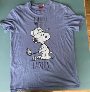 Peanuts mens blue snoopy graphic t shirt size S short sleeve cotton blend