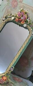 MICHAL NEGRIN OOAK  Table / Wall Hanging Decorated Floral Mirror NEW 34*20 cm