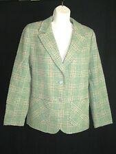 Hourihan Ireland  Handwoven Green Glenplaid Tweed Women's Blazer Jacket Size 10