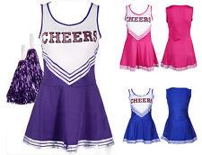 Cheerleader Costume Minivestito + pom poms Fancy Dress High School Carnevale