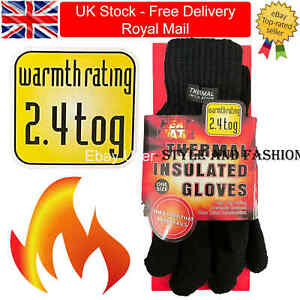 Mens Thermal Gloves Winter Black Insulated Gloves Thick Soft Touch Warm 2.4 Tog
