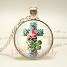 New charm Cabochon Glass Necklace Silver pendants(Rose flower cross