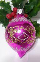 Vintage Christmas Ornament Mercury Glass PINK Teardrop Silver Gold Glitter