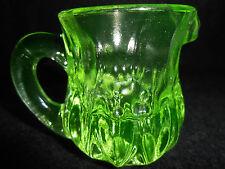Green Vaseline glass child's toothpick holder / Pitcher Uranium tea creamer set