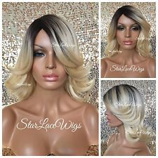 Medium Length Straight Blonde Full Wig Dark Roots Bangs Layers Heat Safe Ok