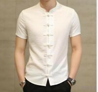 Mens Shirts Short Sleeve Stand Collar Coat Solid Chinese Summer Top Zsell