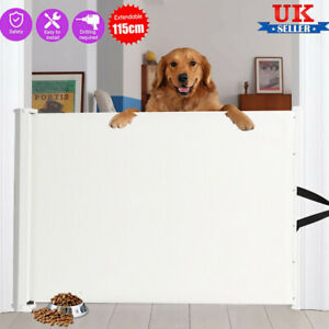 Child Safety Baby Pet Dog Gate Stair Divider Barrier 115cm Retractable Folding