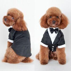 Dog Costume Wedding Suit Pet Puppy Black Apparel Tuxedo For Medium Small Dogs