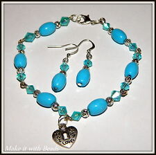 Blue Turquoise Glass Beads Bracelet & Earrings Jewellery Making Craft Gift Kit