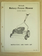 """WESTERN TOOL 20"""" ROTARY POWER MOWER OPERATING, PARTS MANUAL MODEL RM - 20 - C"""