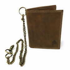 Primehide Genuine Leather Wallet with Chain - Hunter style distressed leather