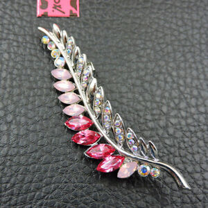 Betsey Johnson Rhinestone Pink Enamel Leaf Crystal Charm Brooch Pin Gift