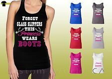 Country Shirts Cowgirl Ladies Southern Princess Wears Boots Tank Top 18339