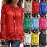 Women Summer Lace Crochet Vest Top Long Sleeve Blouse Casual Tank Tops T-Shirt
