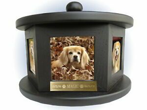 6 Photo Rotating Pet Cremation Urn - Free Engraving - Up To 100 Lbs Dog Cat Any