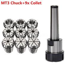 AU 9x ER32 Spring Collet Set 2mm-20mm + MT3 M12 Collet Chuck Holder CNC Milling