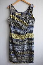 Jacqui E Sleeveless Sweetheart Neckline Black Blue Yellow White Dress sz 14