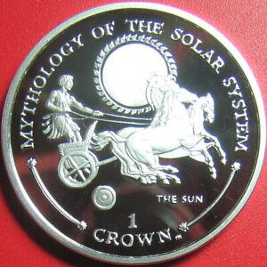 2001 GIBRALTAR CROWN SILVER PROOF SUN GOD HELIOS CHARIOT MYTHOLOGY SOLAR SYSTEM