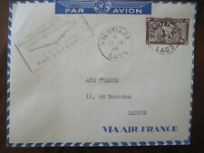 Indochina 1948 LAOS 1st flight cover France Saigon Vientiane Vietnam Air Mail