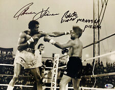 Tommy Hearns Roberto Duran Dual Signed 11 x 14 Photo Autographed Beckett BAS 2