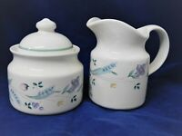 Pfaltzgraff April Creamer and Sugar with Lid Purple Violets Spring Retired USA