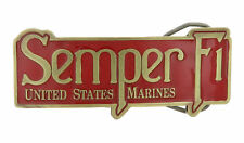 United States Marine Semper Fi USMC Red Enamel Bronze Metal Belt Buckle