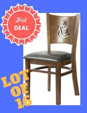 Lot of 16 Restaurant Dining Chair with coffee cup design in Black vinyl seat