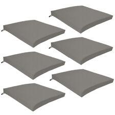 Grey 6 Pack Seat Chair Cushions Outdoor Garden Tie On Waterproof Pad Zip Cover