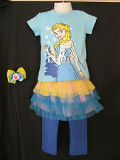 clothes girl t shirt leggings skirt set party size 4 frozen bow