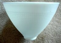 "CORNING Vintage WHITE MILK GLASS WAFFLE PATTERN 8"" DIFFUSER SHADE 2.25"" FITTER"
