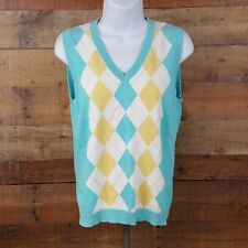 Izod XFG Argyle Sweater Sleaveless Womens Size M Multi Color O12