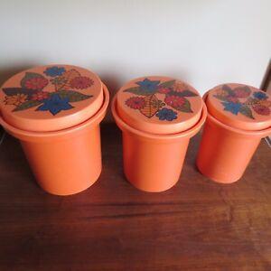 3 Vtg Rubbermaid Nesting Orange Plastic Canisters Lid 70's Retro Flower Power