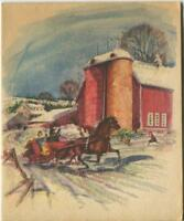VINTAGE CHRISTMAS GLITTER HORSE SLEIGH SNOW FARM WHEAT CORN SILO GREETING CARD