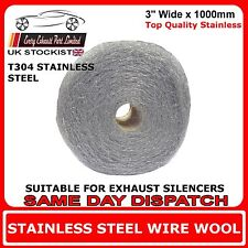 """1m x 3"""" Wire Wool Wrap For Exhaust Silencers Stainless Steel T304 - High Grade"""