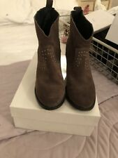 Pied A Terre Western Style Ankle Boots Brown Suede Size 4
