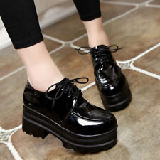 Women Lace Up Oxfords Chunky Heel Platform Shoes Patent Leather Casual Round Toe
