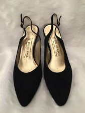 Bruno Magli Womens Slingback Heels Size 8.5AA Black Velvet Italian Leather Pumps