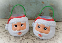 vintage Santa blow mold candy buckets Christmas decorations mini pails cups