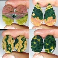 Natural Ocean Jasper Pair Oval Pear Cabochon Loose Gemstone Collection