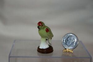 Miniature Dollhouse Vintage Porcelain Handpainted Parrot Bird w Wood Stand 1:12