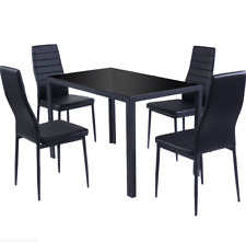 5 Piece Kitchen Dining Set Glass Table and 4 Leather Chairs Highback Breakfast