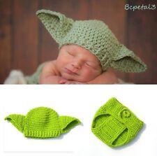 Newborn Baby Crochet Knit Star Wars Yoda Costume Photography Prop Outfits
