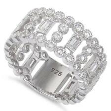Sterling Silver Fancy Wide Eternity Cz Ring - 16mm
