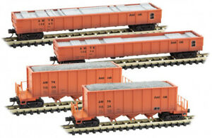 Micro-Trains MTL N-Scale Amtrak Weathered MOW 4-pack Gondolas/Ballast Hoppers