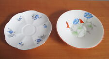 Shelley China 2 Saucers Only Charm Blue + Morning Glory Art Deco Regent England