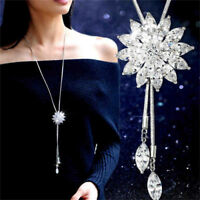 Women Long Crystal Rhinestone Flower Necklace Pendant Sweater Chain Jewelry JA