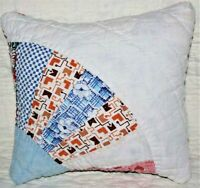 Toss Pillow Made With Vintage 1930's Feedsack Grandmother's Fan Patchwork Quilt