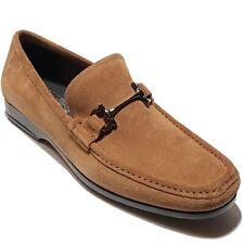 Ferragamo Gancini Bit Brown 11 EE 44 Men's Suede Dress Loafers Casual Moccasin