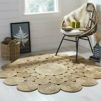 Jute Rug Bohemian Reversible Vintage 3x3 feet Round Area Dhurrie Boho Carpet Mat